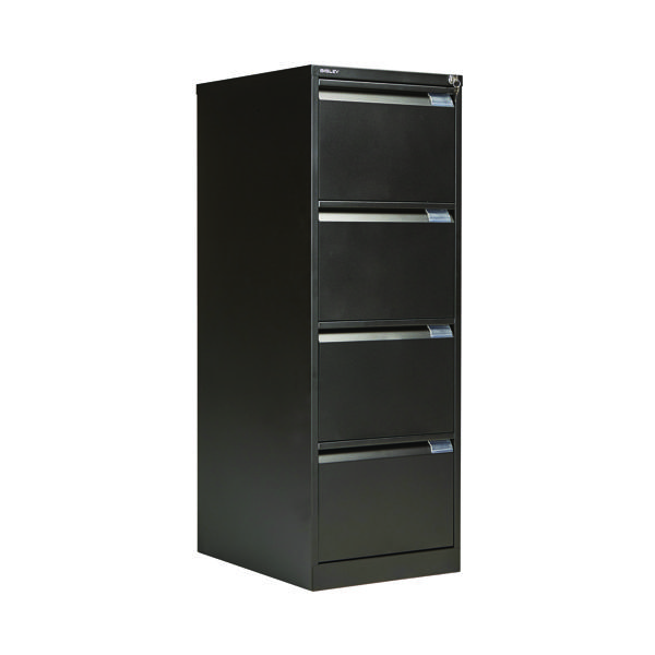 Bisley 4 Drawer Filing Cabinet Flush Fronted Black BS4E BLACK