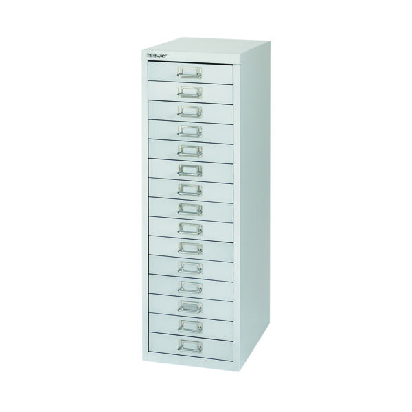 Bisley 15 Drawer Silver Non-Locking Multi-Drawer Cabinet BY58420