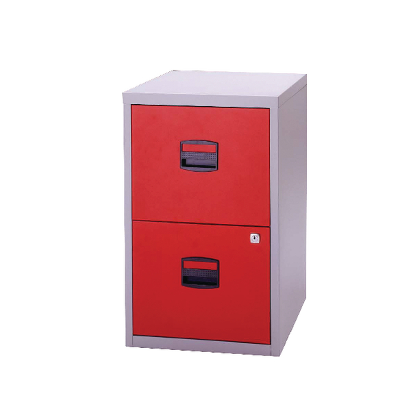Bisley 2 Drawer A4 Home Filer Grey/Red PFA2-8794