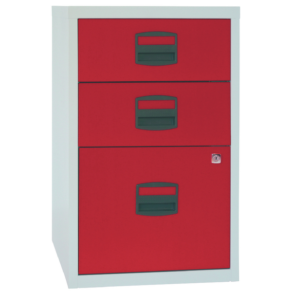 Bisley 3 Drawer A4 Home Filer Grey/Red PFA3-8794
