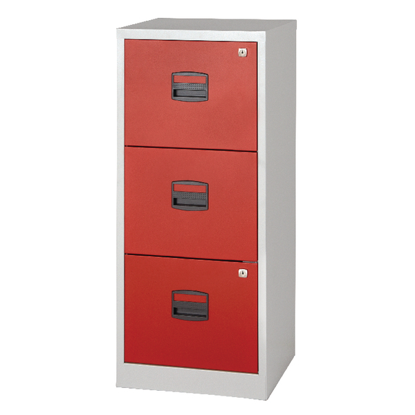 Bisley 3 Drawer A4 Home Filer Grey/Red BY78728