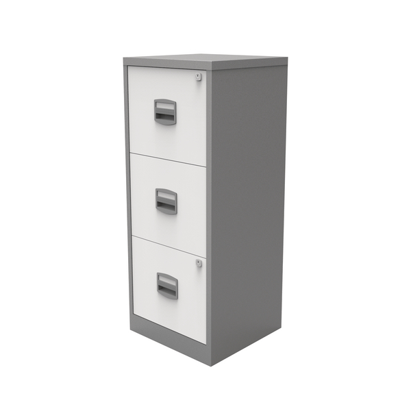 Bisley 3 Drawer A4 Home Filer Silver/White BY78732
