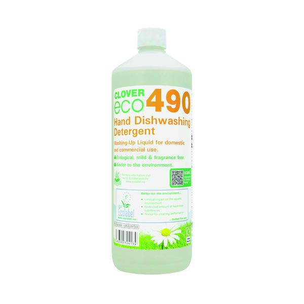 Clover ECO 490 Hand Dishwashing Detergent 1 Litre (12 Pack) 490