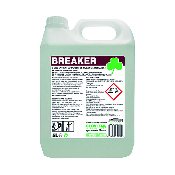 Clover Breaker Concentrated Poolside Cleaner/Descaler 5 Litre 506
