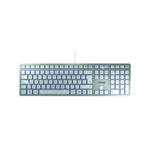 CHERRY KC 6000 Slim Ultra Flat Wired Keyboard Silver/White JK-1600GB-1