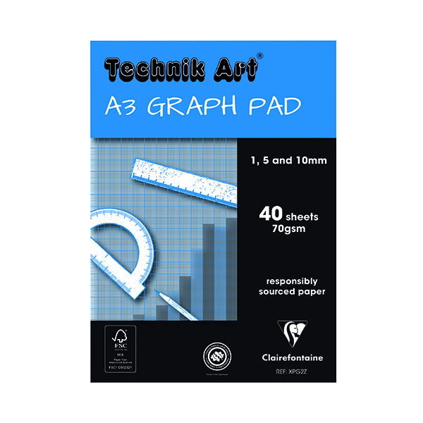 Technik Clairefontaine Art 1/5/10mm Graph Pad A3 40 Leaf XPG2