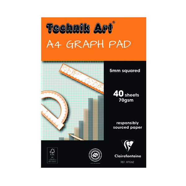 Clairefontaine Technik Art 5mm Quadrille Graph Pad A4 40 Leaf XPG6