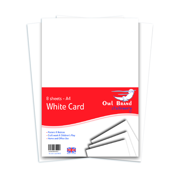 A4 White Card 160gsm 8 Sheets (10 Pack) OBS03