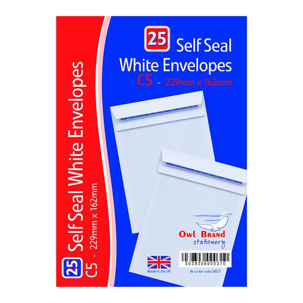 C5 Self Seal Envelopes x 25 White (20 Pack) OBS31