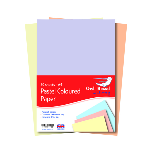 A4 Pastel Paper 80gsm 50 Sheets (10 Pack) OBS113