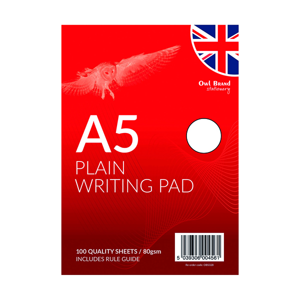 A5 Plain Writing Pad 100 Sheets (12 Pack) OBS328