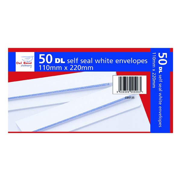DL Self Seal Envelopes x 50 White (20 Pack) OBS135