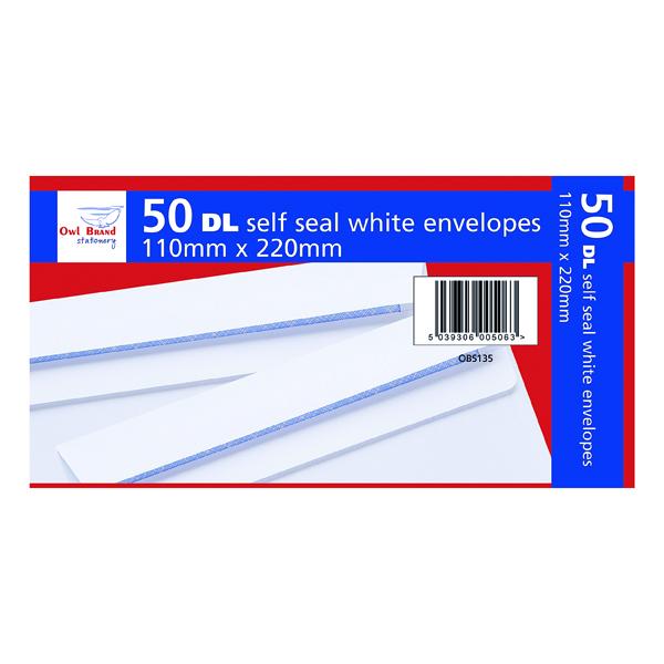 DL Self Seal Envelopes x 50 White (20 Pack) OBS135