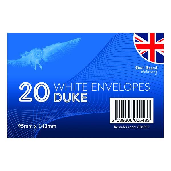 Duke Envelopes x 20 White (24 Pack) OBS067