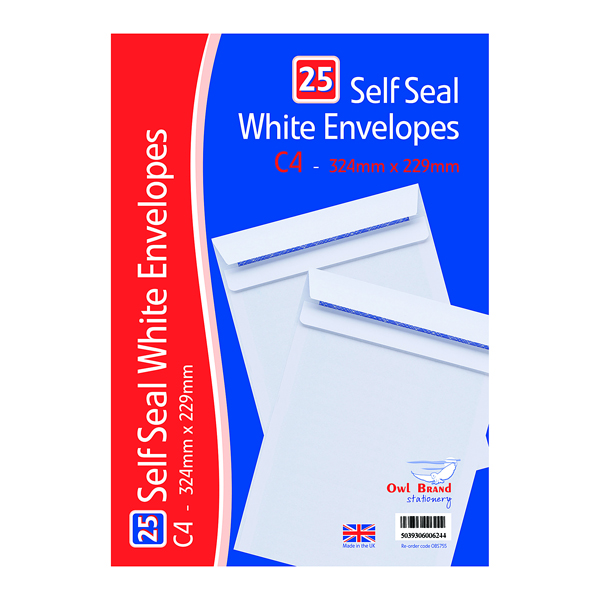 C4 Self Seal Envelopes x 25 White (20 Pack) OBS755
