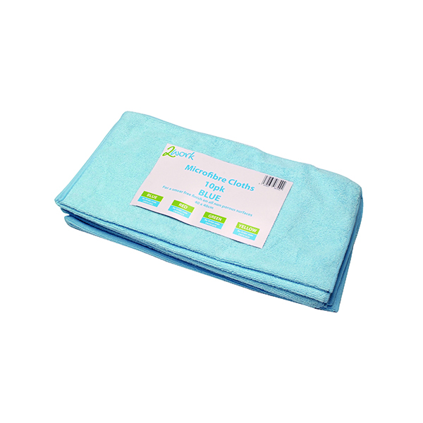 2Work Microfibre Cloth 400x400mm Blue (10 Pack) 101161BU