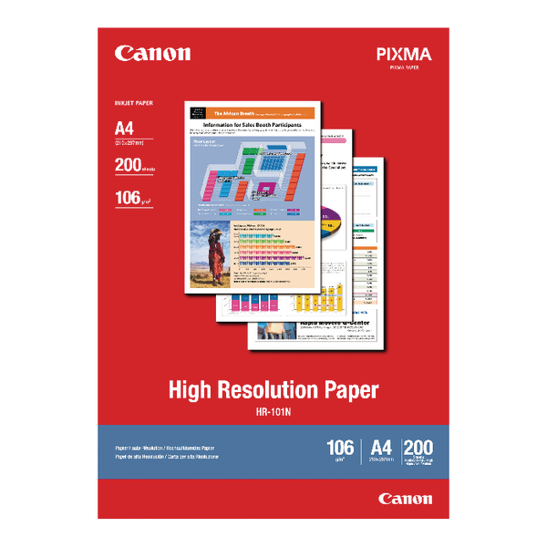 Canon High Resolution A4 Inkjet Paper 106gsm (200 Pack) 1033A001