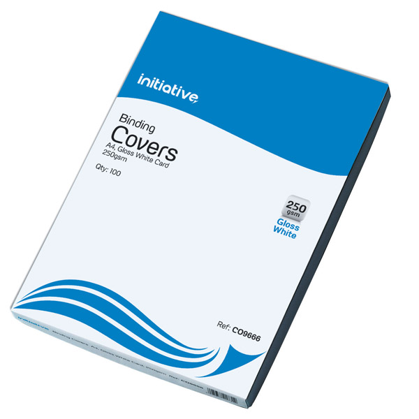 Initiative Cardboard Binding Covers A4 250gsm Plain White Pack 100