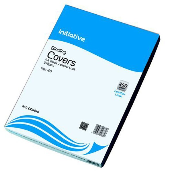 Initiative Leather Look Binding Covers A4 Black (100 Pack)