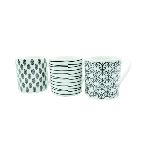 11oz Squat Mugs Dots and Stripes Black and White (12 Pack) P1160119
