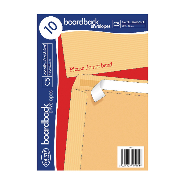 County Stationery C5 10 Manilla Board Envelopes (10 Pack) C524
