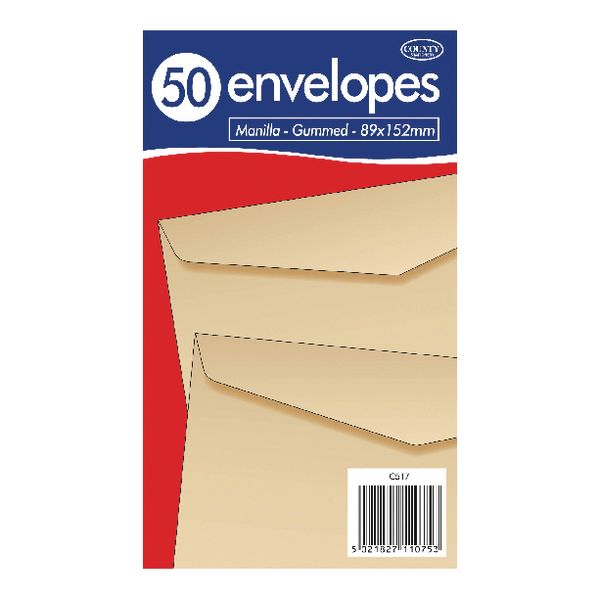 County Stationery Manilla Gummed Envelopes 89x152mm (1000 Pack) C517
