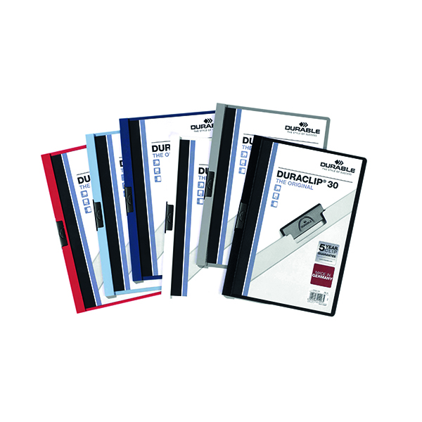 Durable 3mm Duraclip File A4 Assorted (25 Pack) 2200/00