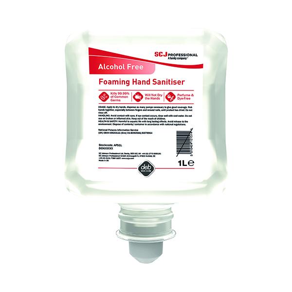 Deb InstantFOAM Alcohol Free Foam Hand Sanitiser Cartridge 1 Litre AFHS1L