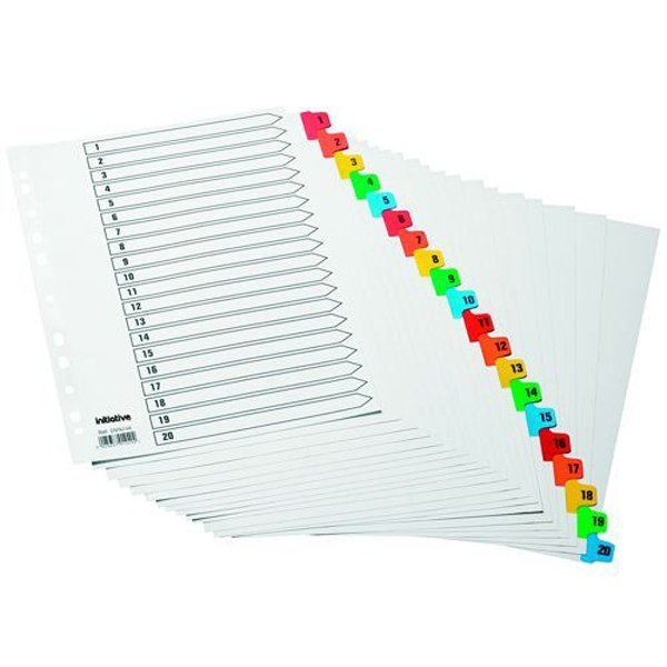Initiative White Board A4 160gsm Divider 1-20 Coloured Mylar Tab