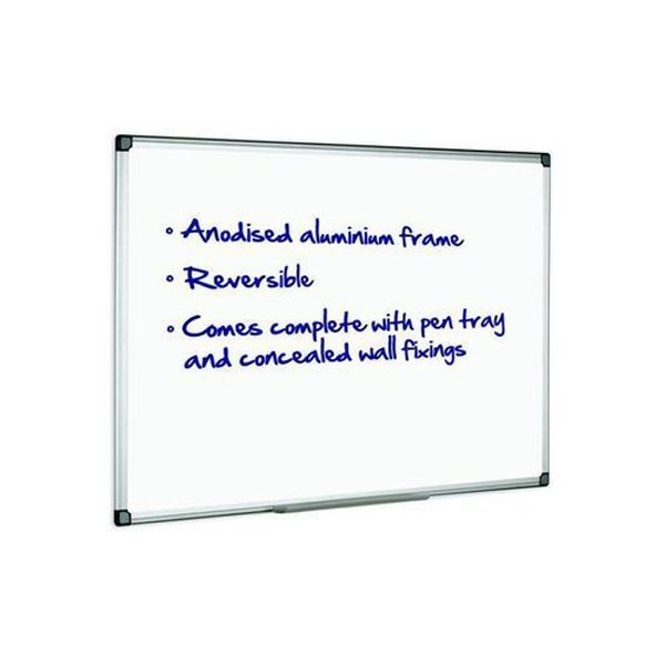 Initiative Magnetic Drywipe Board Anodised Aluminium Frame With Clip-on Pen Tray 900x600mm (3x2)