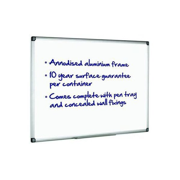 Initiative Magnetic Drywipe Board Anodised Aluminium Frame With Clip-on Pen Tray 1800x1200mm (6x4)