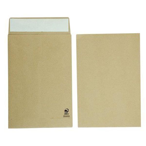Initiative Envelope 25mm V-Base Gusset Pocketed Plain Peel n Seal C4x1 120gsm Manilla (125 Pack)