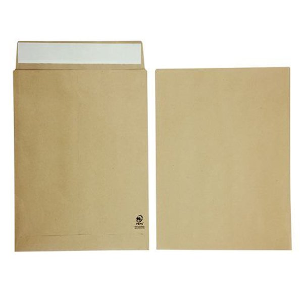 Initiative Envelope 25mm V-Base Gusset Pocketed Plain Peel n Seal 16x12x1 120gsm Manilla (125 Pack)