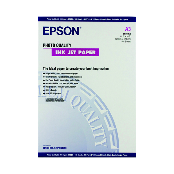 Epson White Photo A3 Inkjet Paper 104gsm (100 Pack) C13S041068