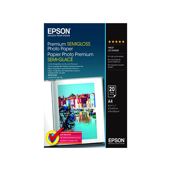 Epson A4 Premium Semi-Gloss Photo Paper (20 Pack) C13S041332