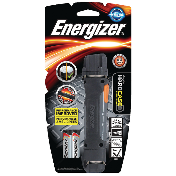 Energizer Black/Grey Hard Case Pro 2AA LED Torch 639618