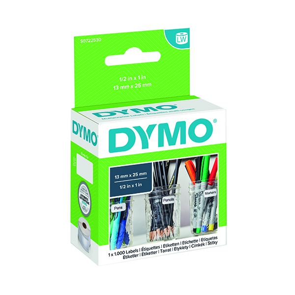 Dymo White Multi-Purpose Labels 12x24mm (1000 Pack) S0722530