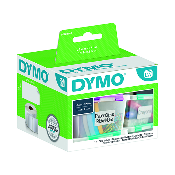 Dymo White Multi-Purpose Labels 57x32mm (1000 Pack) S0722540
