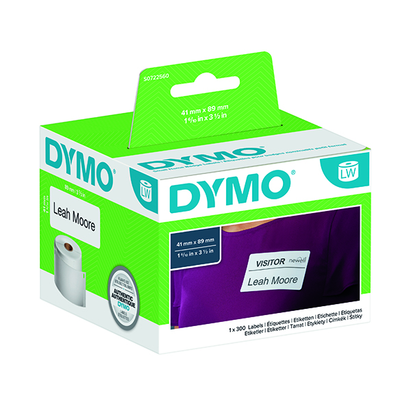 Dymo White Name Badge Label 89x41mm (300 Pack) S0722560