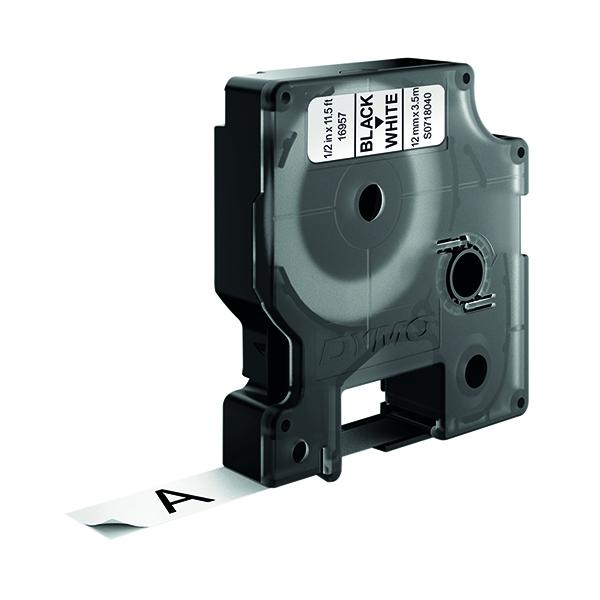 Dymo Black on White D1 Flexible Nylon Tape 12mm x 3.5m S0718040