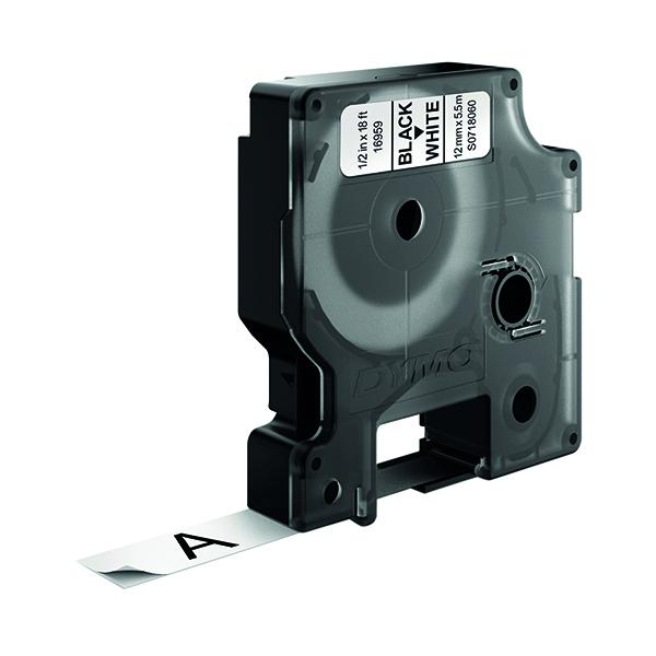 Dymo Black on White D1 Permanent Tape 12mmx5.5m S0718060
