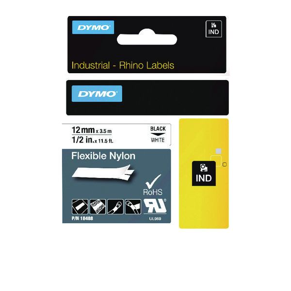 Dymo Black on White Rhino Flexible Nylon Tape 12mmx3.5m 18488