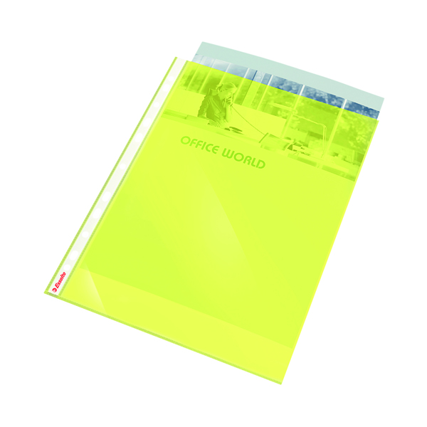 Esselte Punched Pocket Polypropylene A4 Yellow (10 Pack) 47201