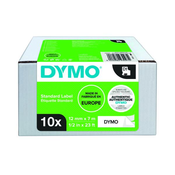 Dymo D1 LabelMaker Tape 12mm x 7mm Black on White (10 Pack) 2093097