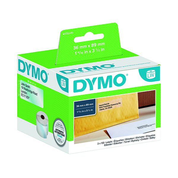 Dymo Clear Large Address Labels 36x89mm (260 Pack) S0722410