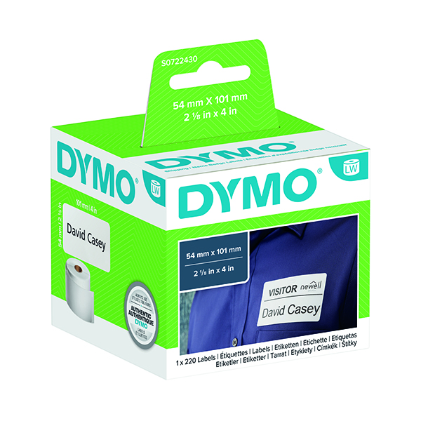 Dymo White Shipping and Name Badge Label 54x101mm (220 Pack) S0722430