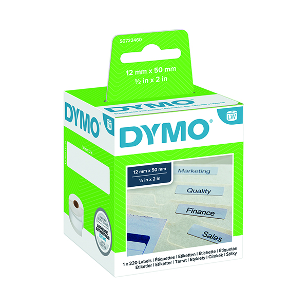 Dymo White Suspension File Label 50x12mm (220 Pack) S0722460