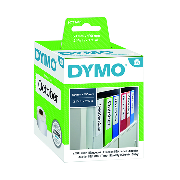 Dymo White Large Lever Arch File Label 60x190mm (110 Pack) S0722480
