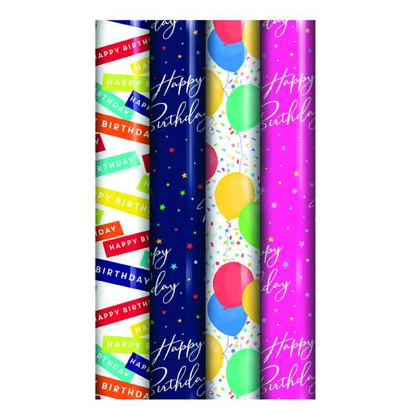 Assorted Happy Birthday Gift Wrap (39 Pack) 27177-GW