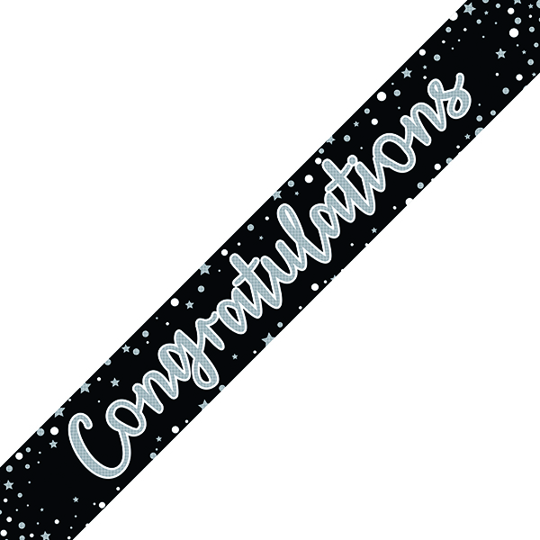 Congratulations Banner Black/Silver (6 Pack) 6837-CONG